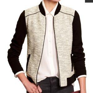 Banana Republic XS Metallic Tweed Baseball Jacket
